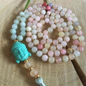 6mm morganite Gemstone Beads Buddha mala Bracelet Pray Yoga Handmade Cuff Lucky
