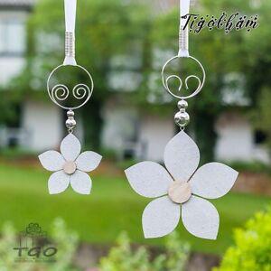 Fensterdeko Holz Blume silber mit Perlen Band handgemacht Fensterschmuck hänger