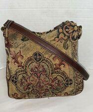 FOSSIL Tapestry & Brown Leather Hobo shoulder Handbag Purse ZB 8553