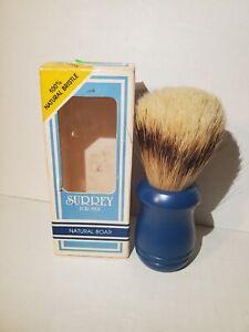Surrey Blue Handle Shaving Brush #31014, Natural Boar Bristle USA Vintage