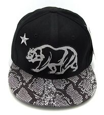 CALIFORNIA REPUBLIC Snapback Cap Hat CALI Bear Flag Caps Black Snakeskin Visor