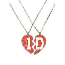 1D One Direction due Collana BFF Cuori META 'regalo ragazze fan amici in argento NUOVO