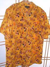 REVALATION Bright Yellow HAWAIIAN Aloha Shirt FLORAL CAMP Sz L vented