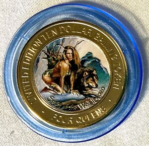 "$10 FOUR QUEENS CASINO 2020 ""Spirit Of The Wolf II""  SILVER STRIKE  BLUE CAP"