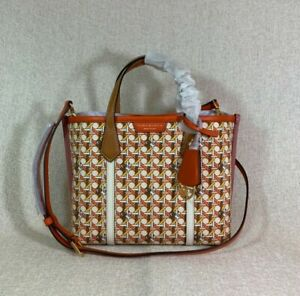 NWT Tory Burch Basket Weave Small Perry Triple Compartment Tote $328