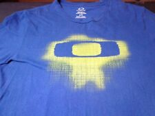 Oakley Blue with Neon Yellow Graphics Cotton T Shirt  Medium Regular Fit  O1