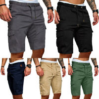 Men's Elasticised Waist Cargo Capri Shorts Summer Casual Comfy Athletic Pants