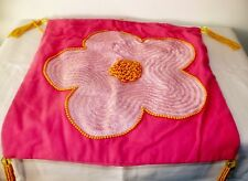 Vintage Pearl Beaded Embroidered Hot Pink Flower Power Throw Pillow Cover 15.75""