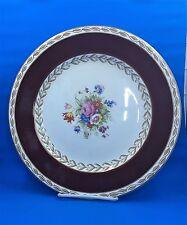 "Wedgwood Maroon Rim -Gold Laurel Trim-  Floral Center WW23 Vintage Plate 10 1/2"""