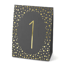 Black Gold Polka Dot Table Numbers Cards Wedding Party Reception 1-40 MW21840