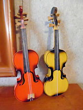 SMALL VIOLIN PAIR DECOR WOODEN WITH STRINGS