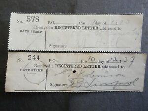 2 MALTA 1923/37 REGISTERED LETTER RECEIPTS