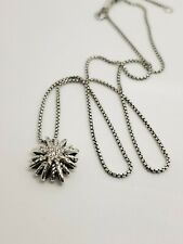 David Yurman Silver 16mm Small Starburst Diamond Pendant Chain Necklace AUCTION