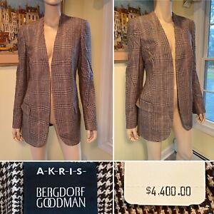New w/ Tag $4400 AKRIS Bergdorf Brown Cashmere Open Blazer Jacket Size 12/Large