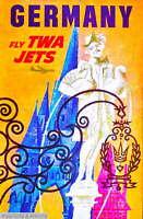 308215 Germany by Airplane German Europe European Vintage Travel PRINT POSTER