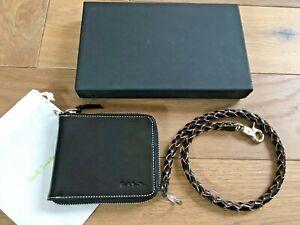 Paul Smith Men Black Leather Zip Billfold 8 Card Wallet with key holder NWOT