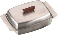 Traditional Stainless Steel Butter Dish With Wooden Knob. 18/8 Premium Stainless