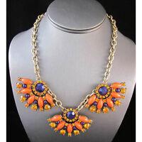 NEW * Stylish Anthropologie Roksana Tri Fringe Fan Orange Blue Beaded Necklace