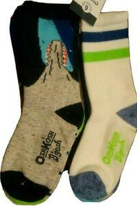 OshKosh BOYS Shark Stripe Green Blue Gray Crew Socks 4-7 6 Pack