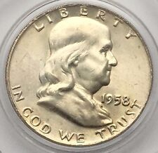 1958 D SILVER FRANKLIN UNCIRCULATED HALF DOLLAR COIN FREE SHIPPING