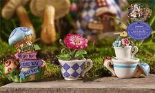 Mini World 3 Figurines Teacup Planter Alice in Wonderland Miniatures Flowers New