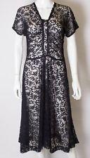 A vintage 1930s -1940s navy lace day dress