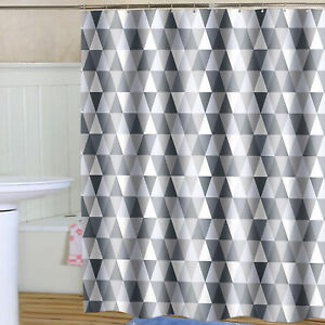 Waterproof Bathroom Fabric Shower Curtain Grey Geometric Pattern Long 180x180cm