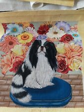 New ListingHandpainted needlepoint Canvas,Zweigart 18 mono Japanese Chin dog Jwpo #011