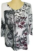 Chicos Easywear White Black Burgundy Floral Paisley Sweater V-Neck Size 2 Large