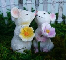 Mice Holding Flowers set of 2 asst Mi 55743 Miniature Fairy Garden