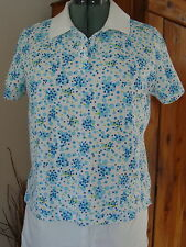 Kim Rogers PL 100% Cotton SS Polo Top Bubble Turq. White Collar Side Vents LN