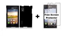 Black Rubber Hard Case Phone Cover for LG Optimus L5 E617 E617G+Free Screen