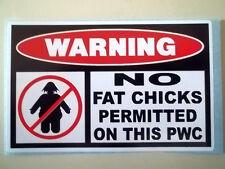 FUNNY NO FAT CHICKS WARNING * PWC * WATER CRAFT SKI JETSKI STICKER DECAL *55