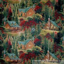 BonEful Fabric Cotton Quilt Thomas Kinkade Log Cabin Scenic Tree Xmas SALE SCRAP