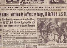 journal  l'équipe  du 20/07/48 CYCLISME TOUR DE FRANCE 1948 LAPEDIE SCHOTTE