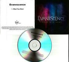 EVANESCENCE What you want RARE TST PRESS UK PROMO DJ CD single USA SELLER MINT