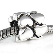 Wholesale 20pcs Double Hearts Silver European Bracelet Spacer Charm Beads D636
