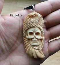 Eagle & Indian Skull Bone Carving Pendant Antique Color w/ Sterling Silver Bale