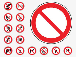 PROHIBITION WORKPLACE EMERGENCY HEALTH & SAFETY SIGNS WATERPROOF COSHH HACCP