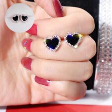 Gold Sapphire Love Heart Jewelry Stud Womens Black Earrings Fashion Cute Rose