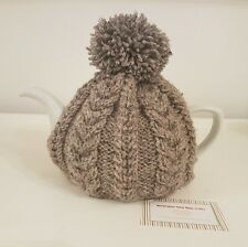 Hand Knitted Aran Tea Cosy - Herringbone (Dark Grey)