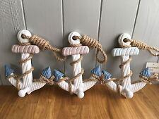 Set di 3 shabby Chic Nautico ganci di ancoraggio in legno rustico Stringa costiere