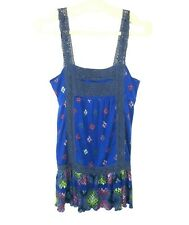 Free People Women's Size Medium Blue Floral Tunic Top Sleeveless Lace Straps