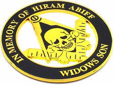 "Masonic 3"" In Memory of Hiram Abiff Car Emblem Widows Son Black // Gold  DMCE09"