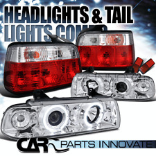 92-98 BMW E36 318i 328i Sedan Halo Projector Headlights+Red Tail Lamp