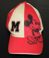 Vintage 90s Disney Mickey Mouse ~ Velcro back ~ Hat Red/ Black/ Tan youth