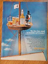 1966 Old Crow Whiskey Ad Yo-ho-ho Pirate Ship Crow's Nest