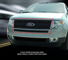 Stainless Steel Black Mesh Grille Grill Upper For 07-10 Ford Edge