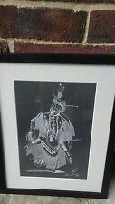 NAVAJO FRAMED ART BY L. DAVID EVENING THUNDER SIGNED BLACK AND WHITE