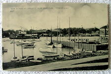 POSTCARD VIEW OF RIVER AT CHARLOTTE NEAR YACHT CLUB ROCHESTER NEW YORK BOATS #g6